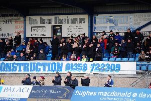Falkirk fans on tour - Peterhead, January 11, 2020. Picture by Michael Gillen.