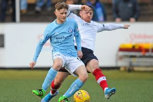 Action from Falkirk's meeting with Forfar Athletic at Station Park earlier this season