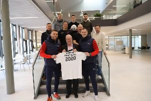 Representatives from Falkirk FC and Forth Valley College come together to kick off a new partnership between the two organisations.