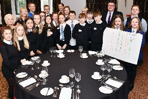 Larbert High School S1 pupils visit to Macdonald Inchyra Hotel as part of hospitality initiative. Picture by Michael Gillen.