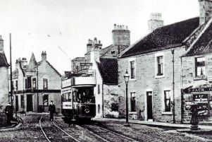 The year of this picture is unknown but it shows one of Kirkcaldy's trams stopping at its final destination at the 'terminus in Gallatown. From here the tram would run to the terminus at Linktown, via the High Street.
