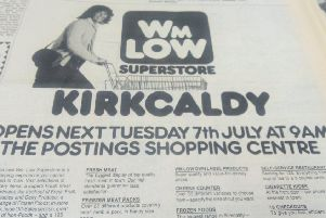 1974 - advert announcing the opening of Wm Low store at The Postings, Kirkcaldy