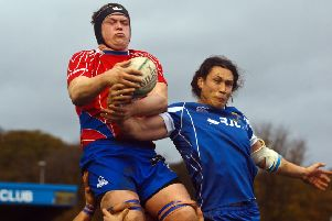 Connor Wood, pictured in action last week against Jed-Forest, scored two of Kirkcaldy's four tries in the defeat to Musselburgh. Photo by Michael Booth