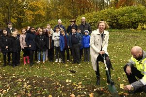 Lesley Laird MP planted five tree saplings to mark the Queen's Commonwealth Canopy, watched by pupils from Kirkcaldy West PS, representatives from Greener Kirkcaldy and Growing Kirkcaldy. Pic: Walter Neilson