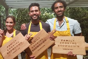 Mitesh Mistry, centre, won the BBC2 Family Cooking Showdown with his wife Prachi Mistry, left, and his nephew Anup Mistry, right