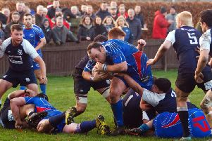 Kirkcaldy tight head Michael Harper bulldozes past Selkirk tacklers. Pic: Michael Booth