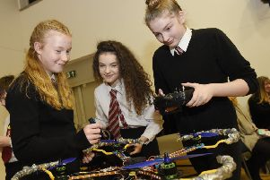 Balwearie pupils taking part in the Quadcopter Challenge. Pic by Greg Macvean