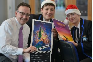 Rector Adrian Watt, with Pupils Sam Carson and Lochlan Stephens. Picture: George McLuskie