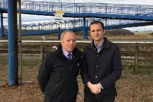 Cllr Bill Connor and Stephen Gethins MP at Leuchars Station.