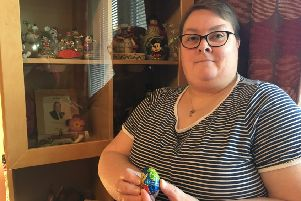 Ainslie Peters and her 45-year-old Cadbury's Creme Egg.