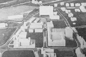 Carlyle House, Kirkcaldy - plans for a nine-storey office development (top of pic) which was meant to be one of the possible bases for the newly created Fife Regional Council..