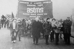 Mass protest in support of workers, led by Henry McLeish, then a councillor, and future First Minister; and Central; Fife MP Willie Hamilton.
