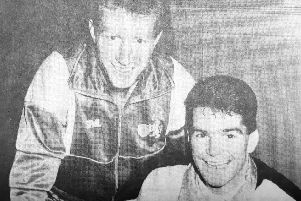 Rovers manager Jimmy Nicholl with new signing Peter Hetherston in 1991