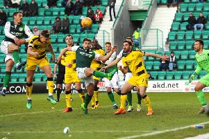 Euan Murray heads home Raith's consolation goal in the 3-1 defeat at Hibs in the Scottish Cup. Pic: Fife Photo Agency