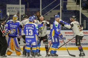One of several flashpoints during the Fife Flyers v Manchester Storm game. Pic: Jillian McFarlane