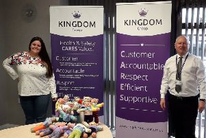 Lauren Moffat and Dave Roy with the Trauma Teddies.