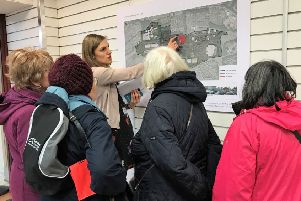 A group of ladies learn more about the plans being put forward for Cumbernauld town centre by Hamcap