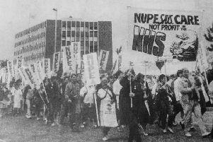 Fife Free Press 1984 - demo by 2000 health union workers against plans by Fife Health Board to privatise catering and cleaning services