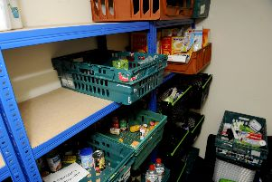 This was how the project's shelves looked during a similar shortage in October last year ... but this week supplies ran out altogether.
