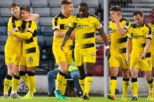 Raith Rovers players celebrate a goal against Queen's Park in a Scottish Cup win in November. Pic: Ian Cairns