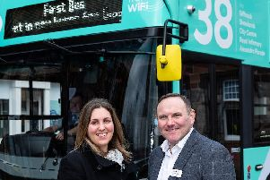 First Bus launch the new 38.''Councillor Anna Richardson and Graeme Macfarlan, Commercial Director for First Glasgow.''' (Photo:'Lenny Warren)