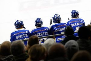 A familiar sight this season as local Fife players (from left) Chad Smith, Calum Robertson, Reece Cochrane and Chris Wands sit idle on the Flyers bench. Pic: Steve Gunn