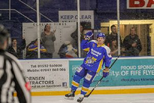 Evan Bloodoff celebrates after opening the scoring for Fife Flyers. Pic: Jillian McFarlane