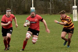 Gavin Emerson breaks out of defence supported by Lee Gartshore. Glenrothes 62-31 Ellon (pic: Brian Chalmers)