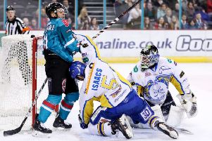 David Rutherford, Belfast Giants, with Fife Flyers James Isaacs and Jordan Marr  (Pic:  William Cherry/Presseye'')