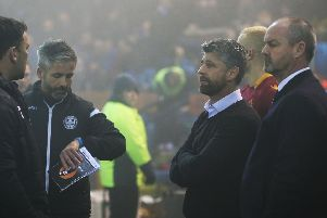 Management teams from both sides in the mist on Wednesday night (Pic by Ian McFadyen)