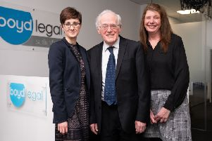 At the launch of Boyd Legal's new premises in Kirkcaldy are Kelly Matthews,  Peter Aitken and Angela Shaw (Pic: Lifetime Photography)