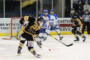 Carlo Finucci prepares to block a shot from Panthers' Mark Hurtubise. Pic: Nottingham Panthers