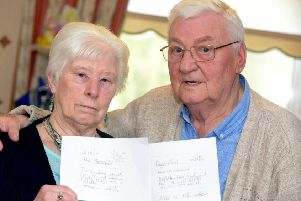 Christine and Ian MacDonald who were due to have their Diamond Wedding celebration at The Royal Hotel in Dysart this Saturday. Pic: George McLuskie.