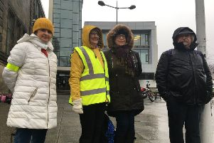College lecturers on the picketline at Fife College Kirkcaldy for the third one-day strike over pay.