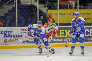 Danick Gauthier in possession during last night's defeat to Cardiff Devils. Pic: Jillian McFarlane