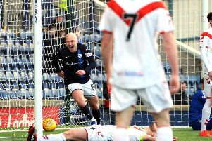 Raith midfielder Grant Gillespie scores the winner against Airdrie. Pic: Fife Photo Agency