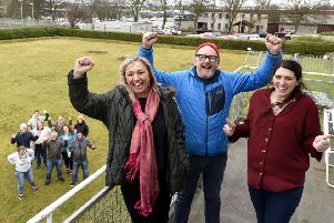 Debbie Kelly, Shuggy Hughes and Joanne Cairns, community development workers celebrate with volunteers at the Gallatown Park site. Fife Photo Agency