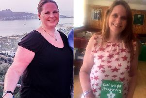 Julie Redmond from Newtongrange, pictured before and after her weight loss.