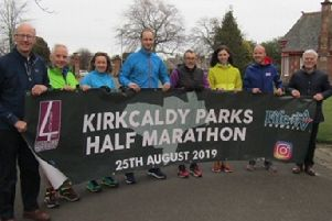 Kirkcaldy Half Marathon - 2019 race event unveils its bnanner in Beveridge Park