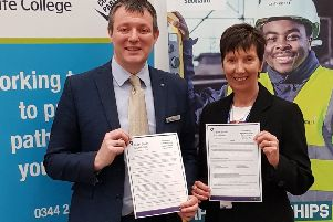 Iain Hawker, Assistant Principal, Fife College and Heather Tytler, Area Manager, Skills Development Scotland, launch the new scholarship to support apprentices at Fife College