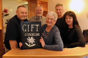 Fife Alcohol Support Service (FASS) is launching a new Gift Counselling Service - asking people to donate cash to help pay counselling fees for those who can't afford private sessions. From left: Donald Grieve, John Hamilton, Jim Bett and sitting Helen Bushnell, and Mhairi Owens. Pic: George McLuskie.