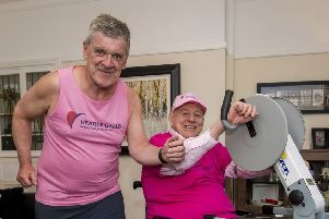 Jim Taylor (right) and Gregor Hollerin in training for their Hearts + Balls fundraiser (pic by Craig Watson)