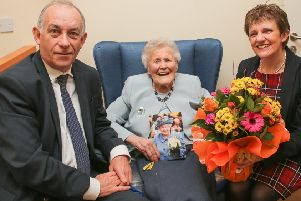 Mrs Betty Craig celebrated her 105th birthday on March 12. Councillor Judy Hamilton presented Mrs Craig with flowers on behalf of Fife Council, and Col Jim Kinloch DL represented the Lieutenancy. Pic: Andrew Beveridge/Fife Council.