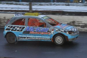 East Wemyss driver Dean McGill  in action at the Cowdenbeath Racewall.