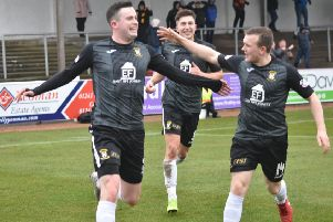 The Fife players celebrate after Anton Dowds' equaliser.