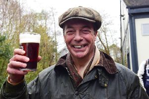 Nigel Farage enjoying a pint at the end of Saturday's 'March To Leave' at a pub in Hartlepool