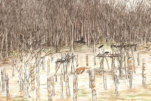 An artists impression of the Neolithic site.