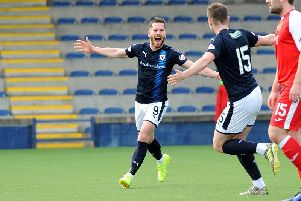 Liam Buchanan celebrates after putting Raith 2-0 ahead. Pic: Fife Photo Agency