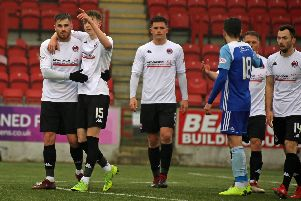 Mixed emotions for Clyde scorers David Goodwillie and Scott Banks after the draw with Peterhead (pic by Craig Black Photography)