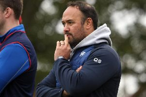 Disappointment for Kirkcaldy head coach Quintan Sanft as his club are relegated back to National 2. Pic: Michael Booth
